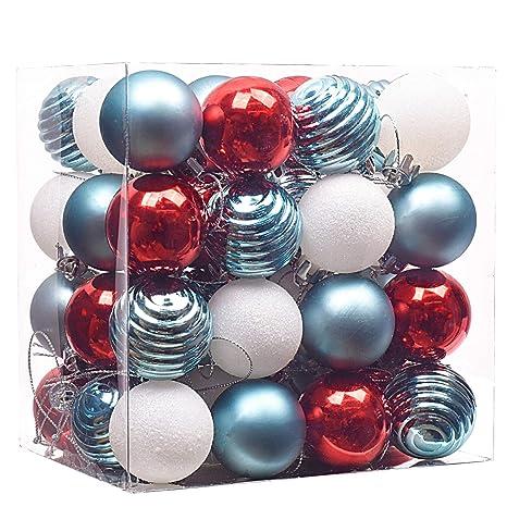 Christbaumkugeln Plastik Rot.Victor S Workshop 48er Set 40mm Weihnachtskugeln Plastik Weihnachtsbaumschmuck Christbaumkugeln Weihnachtsdeko Rot Blau Weiß