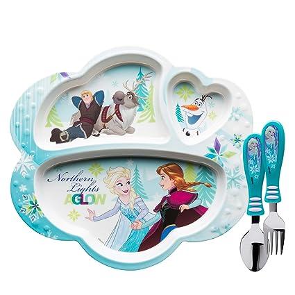Zak Designs Frozen Divided Plate Fork and Spoon Set Disney Frozen 2 piece  sc 1 st  Amazon.com & Amazon.com   Zak Designs Frozen Divided Plate Fork and Spoon Set ...