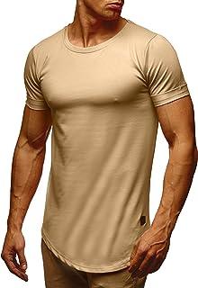 1eb4862960de LEIF NELSON Herren T-Shirt Sommer Basic Kurzarm Shirt Top Sweatshirt  Kapuzenpullover Rundhals Ausschnitt Rundkragen