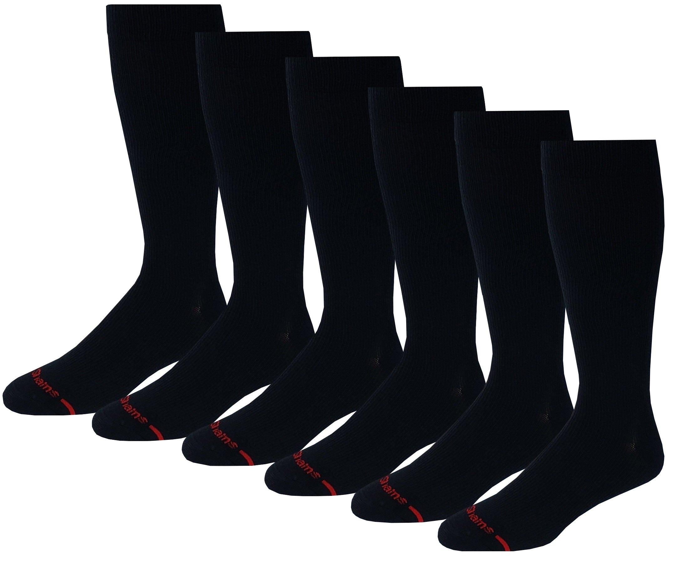 6 Pairs men's Dr. Motion 8-15 mmHg Graduated Supports Compression Knee High Socks - Sock size:(10-13) by Different Touch