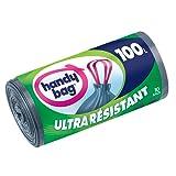 Handy Bag 3 Rouleaux de 10 Sacs Poubelle 100 L, Poignées Coulissantes, Ultra Résistant, Anti-Fuites, 82 x 90 cm, Gris Foncé, Opaque