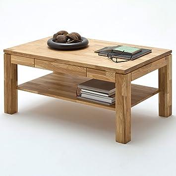 Moebella Couchtisch Holz Massiv Eiche Mit Schublade Massivholz