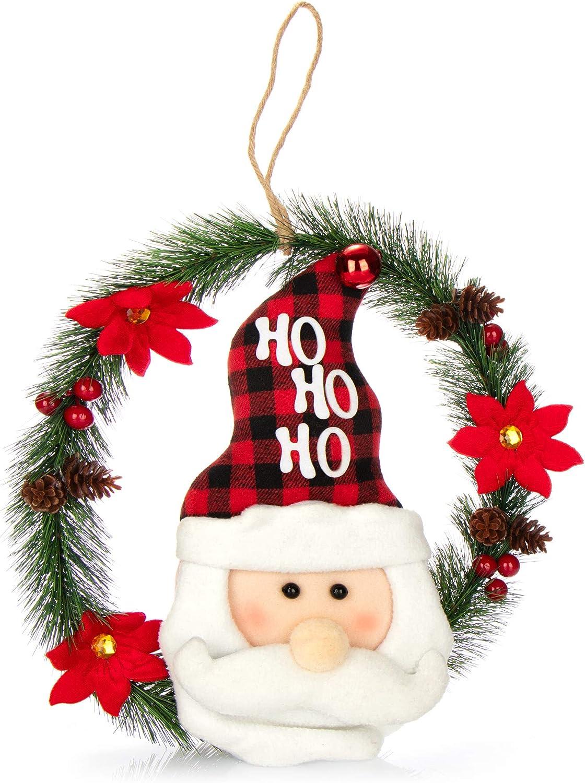 com-four® Corona de Navidad con Papá Noel - Corona de Puerta Navidad - Corona de Adviento - Decoración navideña - Ø Aprox.35 cm