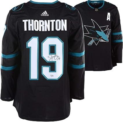 sports shoes f40b5 d49f8 Joe Thornton San Jose Sharks Autographed Black Adidas ...