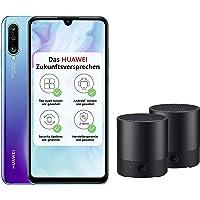Huawei P30 lite Dual-SIM Smartphone (6,15 Zoll, 128 GB ROM, 4 GB RAM, Android 9.0) Peacock Blue mit SD Karte [Exklusiv bei Amazon] DE Version + 2 x Bluetooth MiniSpeaker CM510, schwarz