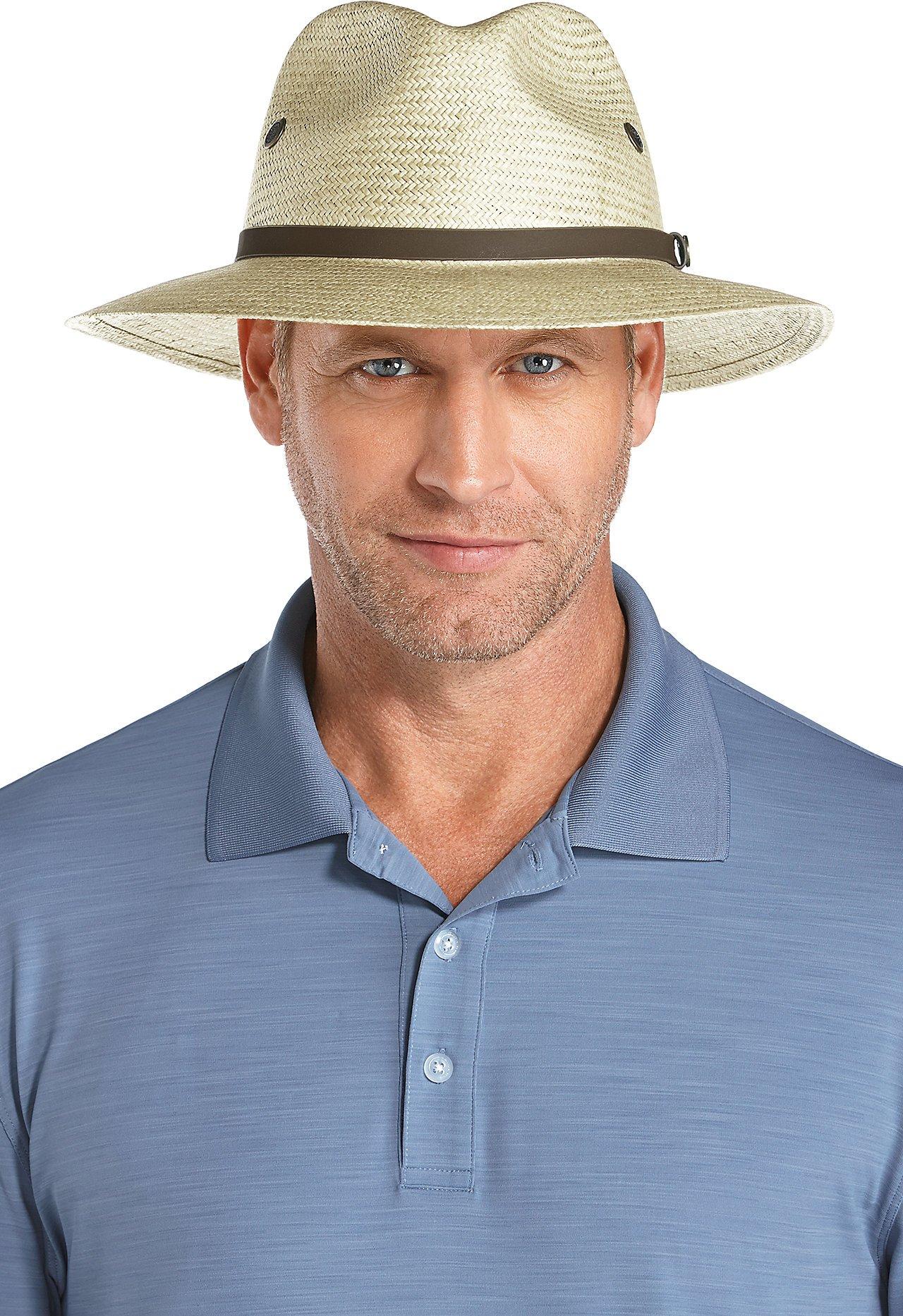 2ac9c813 Coolibar UPF 50+ Men's Fairway Golf Hat - Sun Protective (Large/X-Large-  Antique Ivory)