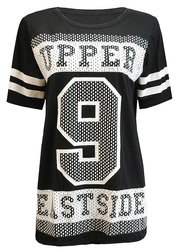 25acbf82f6d1 Fast Fashion Frauen T-Shirt Striped Sleeve Slogan 9 Upper Eastside Top   Amazon.de  Bekleidung