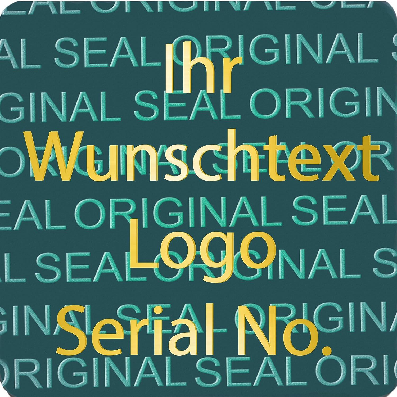 EtikettenWorld EtikettenWorld EtikettenWorld BV, EW-H-2500-50-tgo-700, 700 Stück Hologrammaufkleber, 2D, 15x15mm blaufarbige Metallfolie, bedruckt in Gold-glänzend mit Ihrem Wunschtext Logo, Hologramm Etiketten, selbstklebend, Hologramm Aufkleber, Sicherheitssiegel, Garantie 2fb934