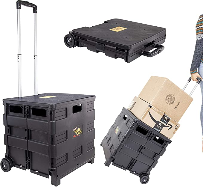 dbest products Quik Cart Collapsible Rolling Crate on Wheels for Teachers