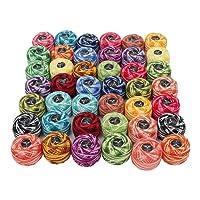 Kurtzy 42 Pcs Fil de Crochet - 5g / 43m Assortiment de Couleurs fil coton pour crochet - Fil à Tricoter Idéal pour Les débutants et Les Passionnés de Crochet Expérimentés