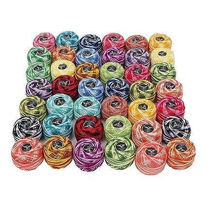 Amazon Crochet Thread Knitting Yarn 42 Pcs Stripy Design