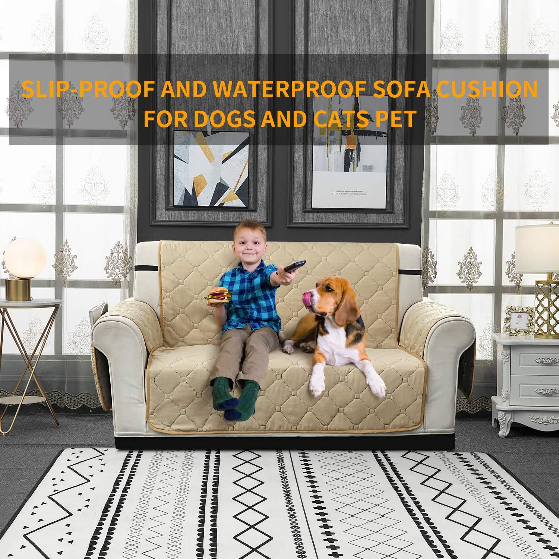 YISUN Funda Cubre Sof/á Protector de Sof/á para Mascotas Gatos Perros y Ni/ños Cubre para Sof/á Impermeable Funda de Sofa El/ástica Tela Resistente con Antideslizante