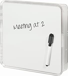 "iDesign Linus Wall Mount Key Box with Dry Erase Board - 8.2"" x 8.5"" x 1.8"", Clear/White"