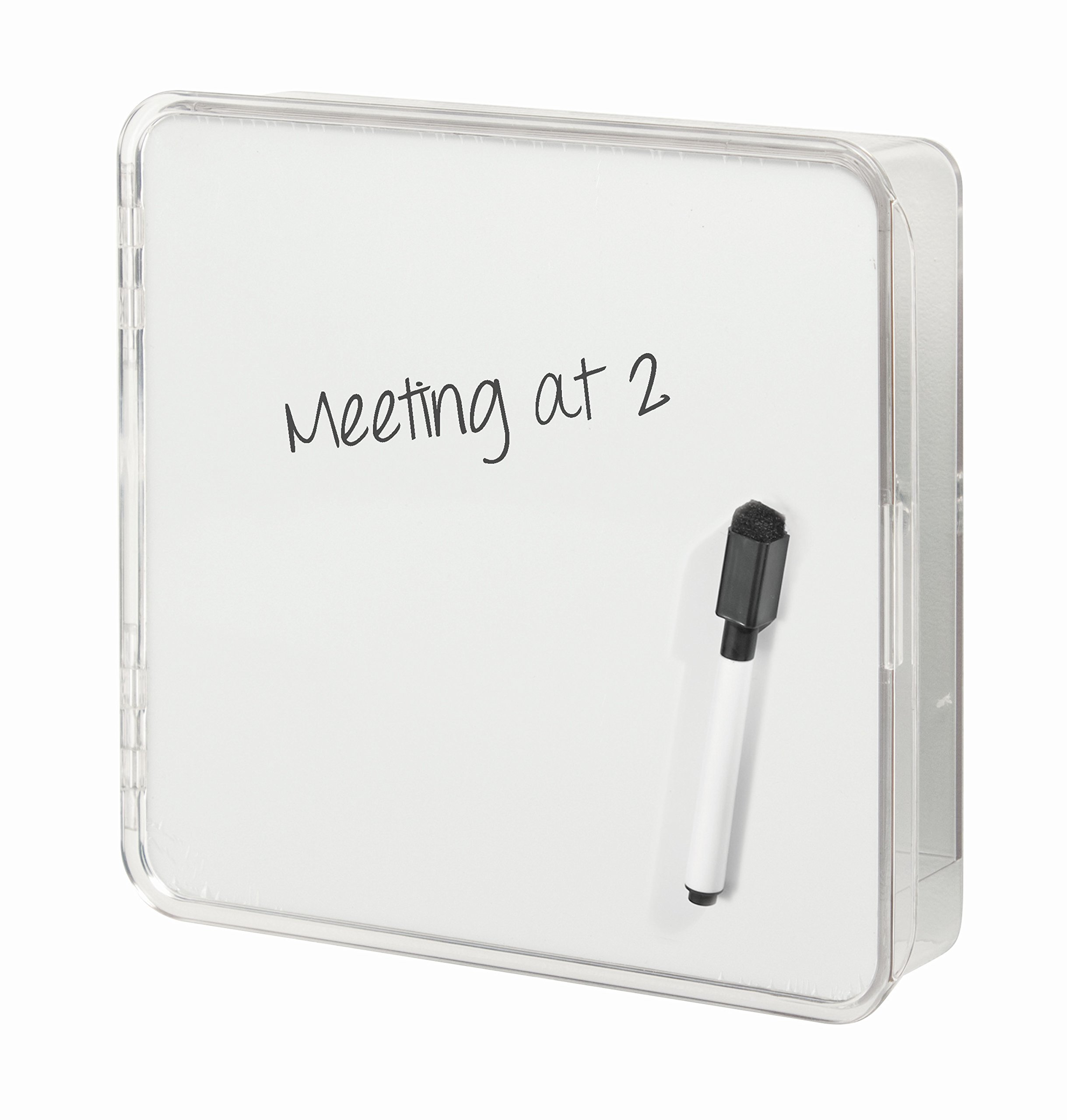 InterDesign Linus Entryway Wall Mount Key Holder and Dry Erase Board – Storage Organizer for Hallway or Entryway, Clear/White