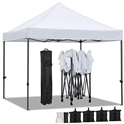 Yaheetech 10 x 10 ft Pop Up Canopy Tent - Heavy Duty Commercial Event Tent Pavilion Portable Waterproof Canopy Folding Party Tent Outdoor Instant Shelter with Wheeled Carry Bag and 4 Sand Bags : Garden & Outdoor