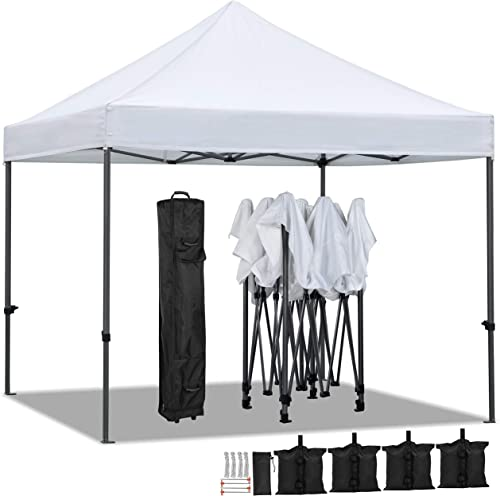 YAHEETECH 10x10ft Commercial POP UP Canopy Tent Portable Shade Instant Folding Canopy with Wheeled Carry Bag, Bonus 4 Canopy Sand Bags, 10x10 FT White