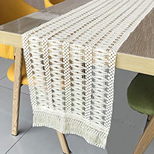 Macrame Table Runner 12 x 84 Inch for Farmhouse Dining Coffee Table Decor Boho Rustic Wedding Bridal Shower Party Decoration, Natural Cotton Crochet Lace Bohemian Kitchen Table Runners with Tassels