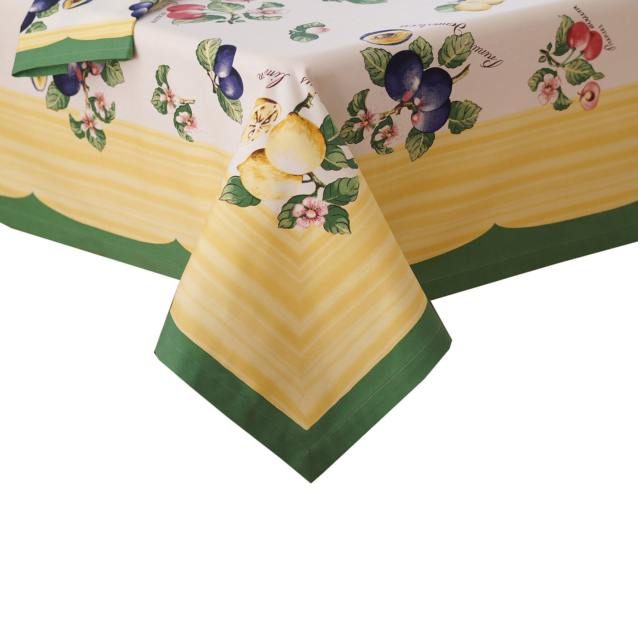 Villeroy and Boch French Garden Cotton Fabric Tablecloth, 68''x126'', Multicolor