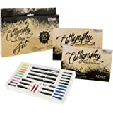 U.S. Art Supply 35 Piece Calligraphy Pen Writing Set - Interchangeable Nibs, Paper Pad, Instructions for Beginners