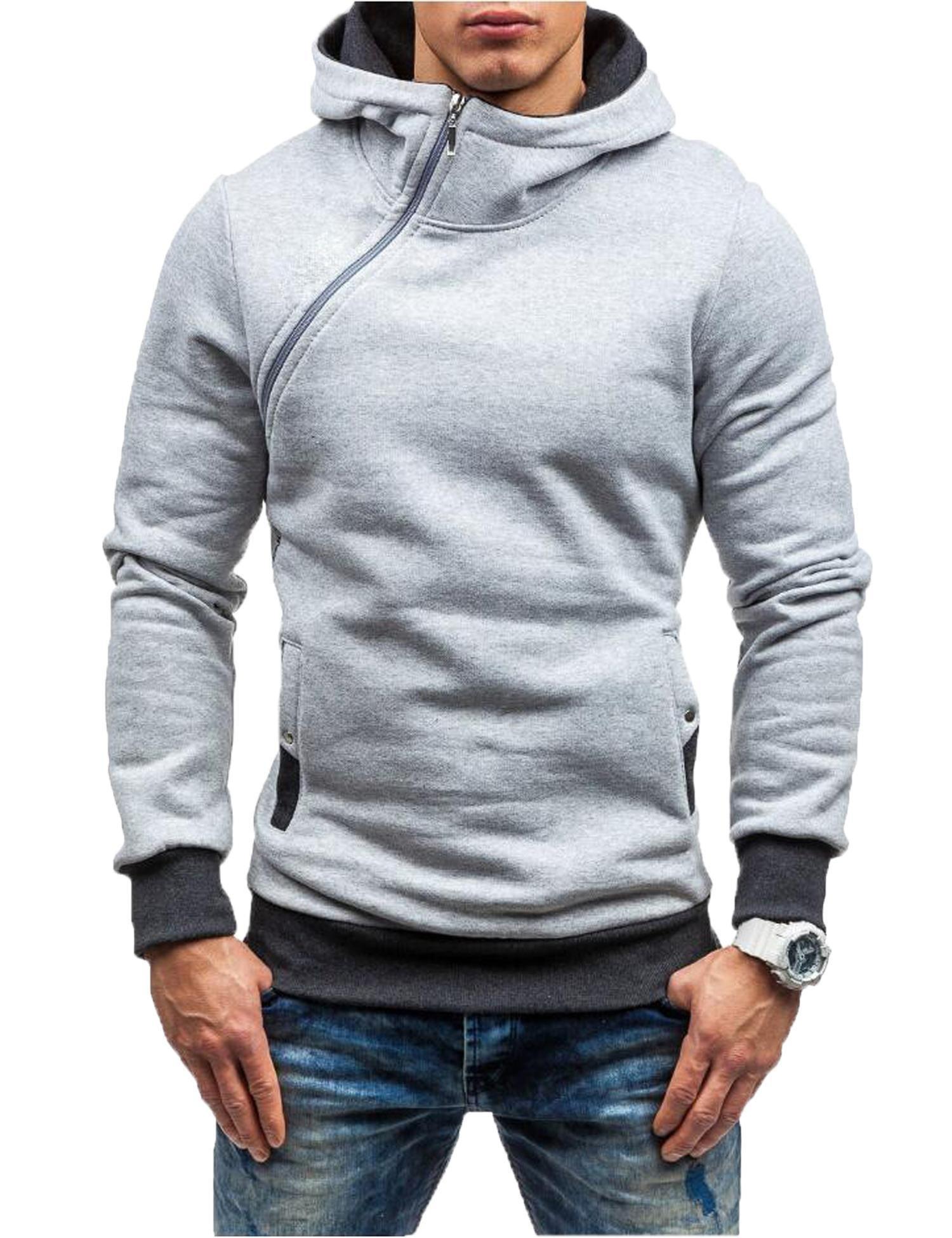 Zuckerfan Men's Long Sleeve Patchwork Slanted Zipper Pullover Casual Fleece Hoodies with Pockets(LGR,S)