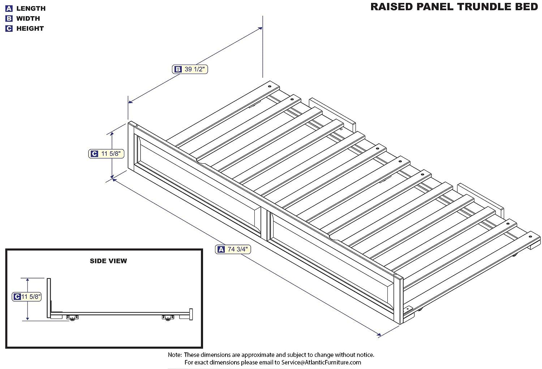 Amazon Atlantic Furniture Raised Panel Trundel Bed Twin Walnut Home Kitchen