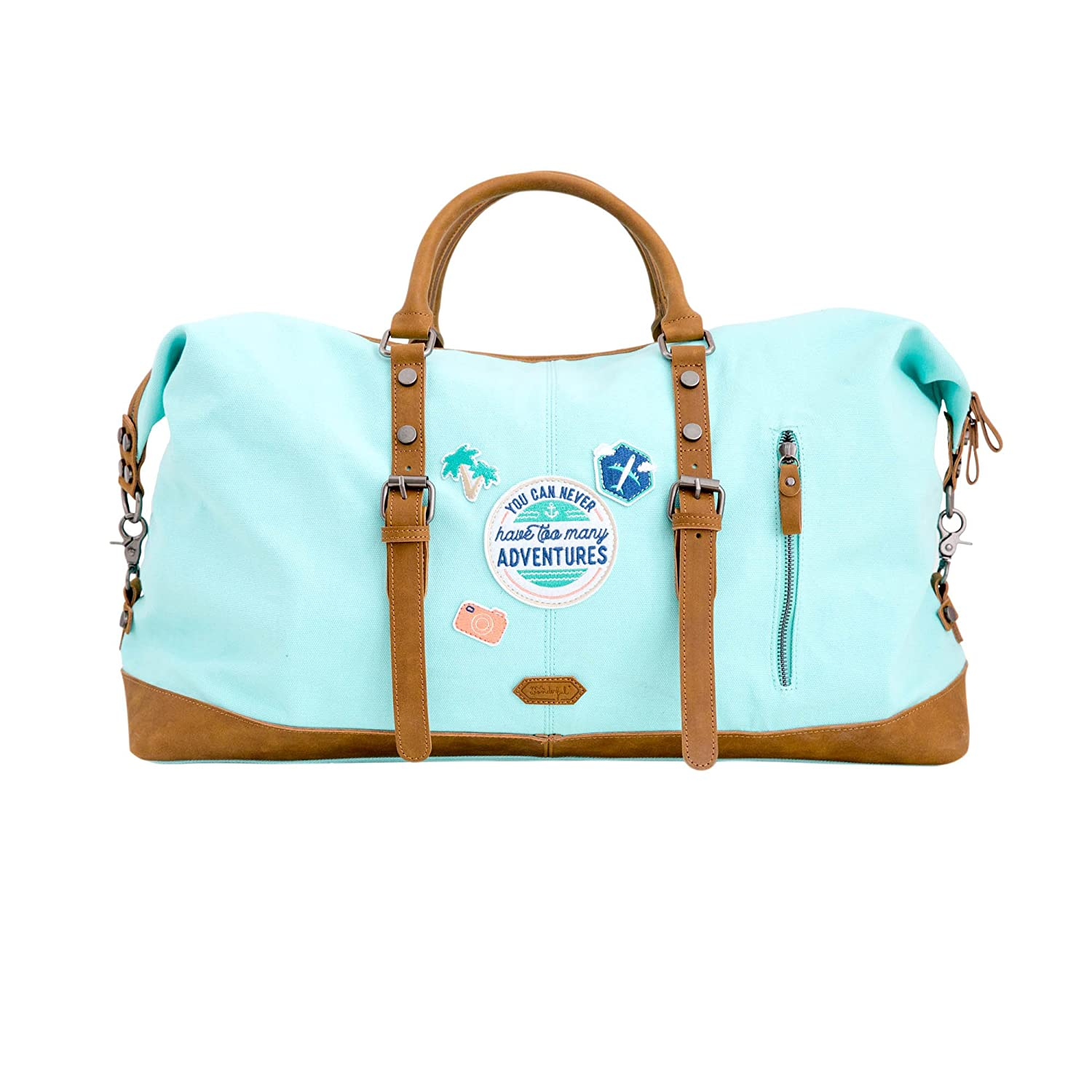 Mr. Wonderful Bolsa de Fin de Semana You Can Never Have Too Many Adventures, Algodón, Azul, 22x53x31 cm WOA08990UN