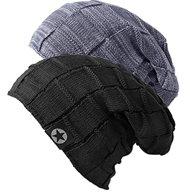 Mens Beanie Hat - Winter Warm Soft Thick Slouchy Knit Caps for Men and  Women ( b8c080ebca1
