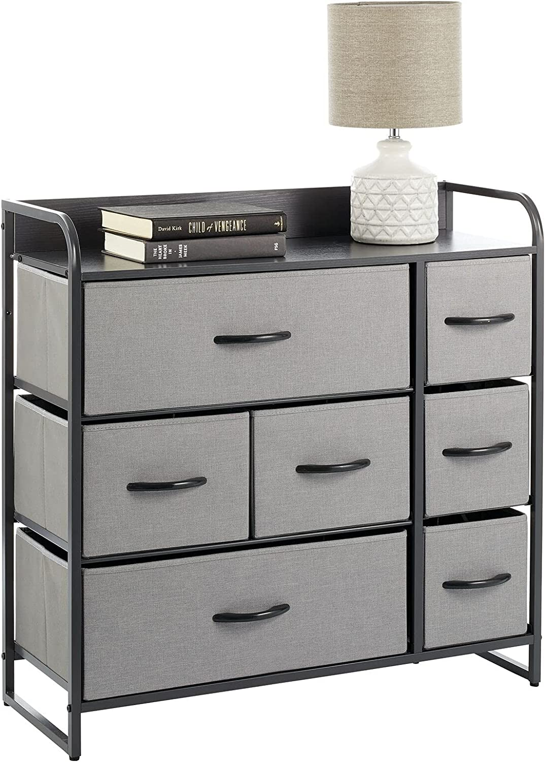 mDesign Wide Chest of Drawers — Bedroom Storage Drawers for Clothes, Socks and More — Landing, Bedroom and Hallway Storage with 7 Drawers and Shelf Top — Grey/Light Grey