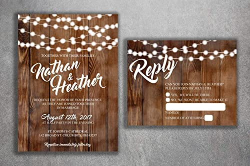 100 Rustic Wood and Lights Wedding Invitations and 100 Envelopes