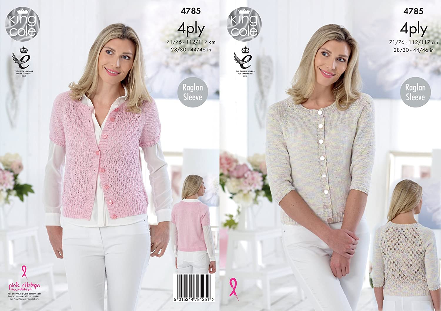 King Cole 4785 Knitting Pattern Womens Raglan Cardigans in King Cole Giza Sorbet and Cotton 4 Ply
