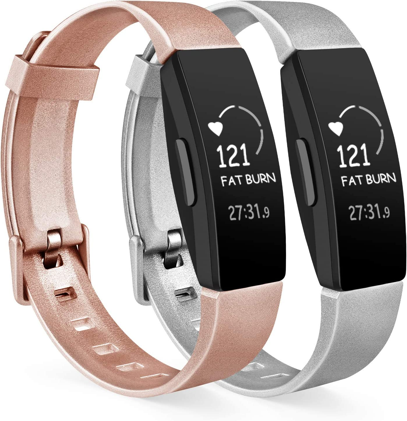 Vancle 2 Pack Rose Gold Silver Bands Compatible with Fitbit Inspire HR Inspire Ace 2 Fitness Tracker for Women Men, Sport Silicone Wristbands for Fitbit Inspire HR