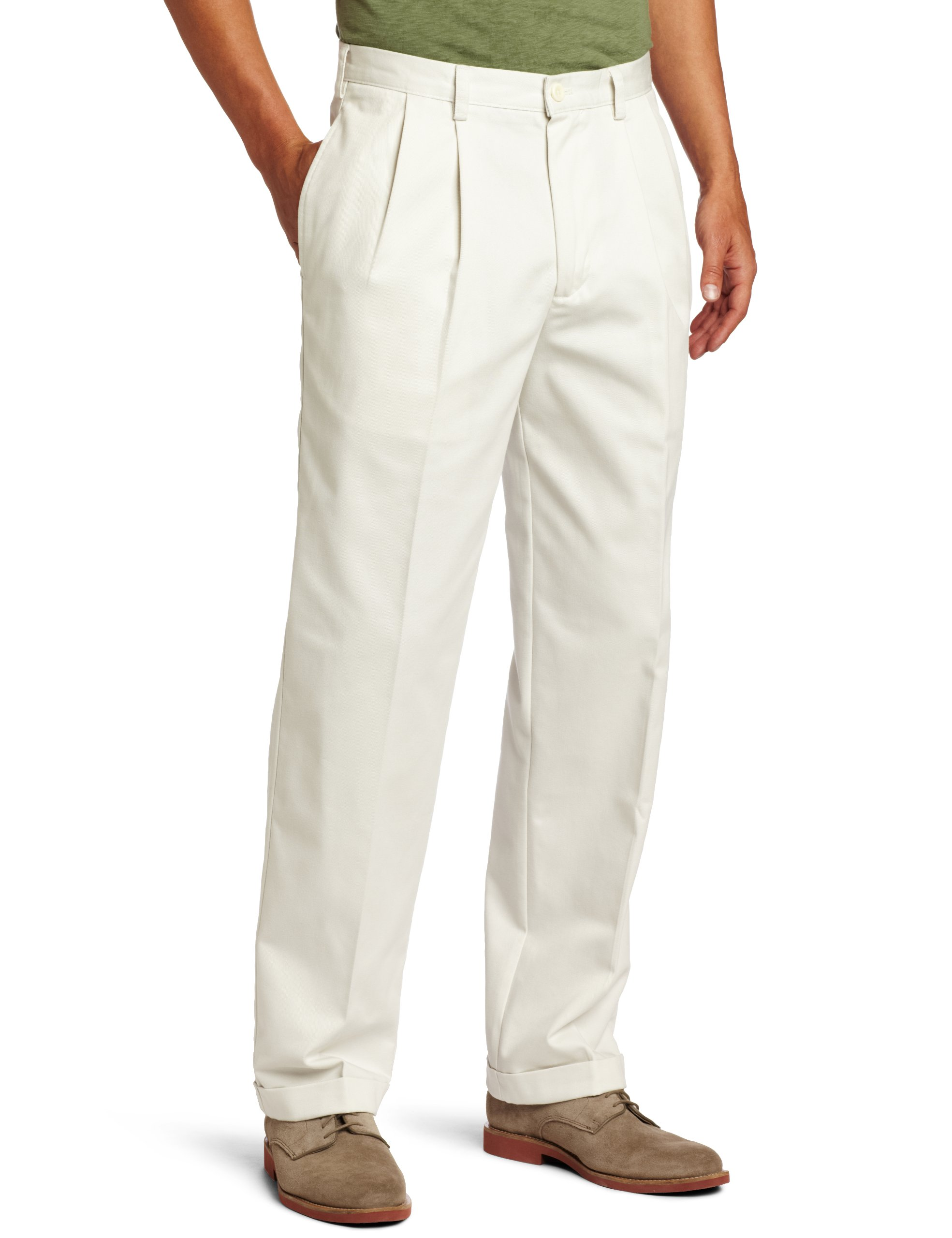 IZOD Men's Big and Tall Pleated Extended Twill Pant, Stone, 50W x 30L