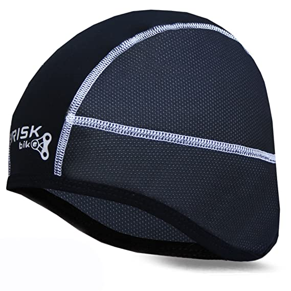 fd1ef2d3645 Brisk cycling skull cap under helmet thermal tight fit warm regular size  (Black)  Amazon.co.uk  Sports   Outdoors