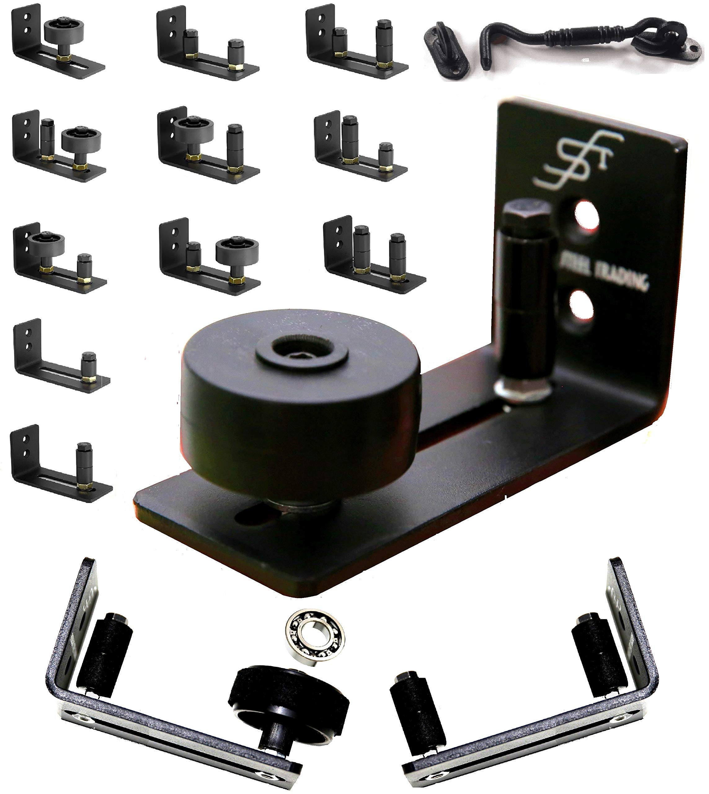 FLORADIS 11 SETUP OPTIONS BARN DOOR FLOOR GUIDE STAY ROLLER/ BALL BEARINGS ULTRA SMOOTH STOP HARDWARE KIT/ COMPLETELY FLUSH to GROUND/ THIN FULLY ADJUSTABLE WALL MOUNT BRACKET/ CABIN DOOR HOOK