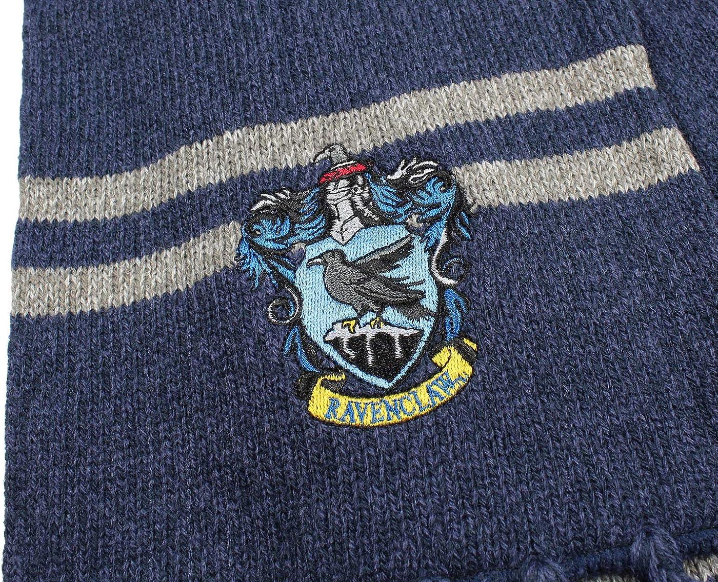 Harry Potter Hogwarts Houses Knit Ravenclaw Scarf & Pom Beanie Set (Ravenclaw): Clothing