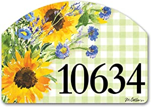 Yard Design Studio M Sunflowers on Gingham Decorative Address Marker Yard Sign Magnet, Made in USA, Superior Weather Durability, 14 x 10 Inches