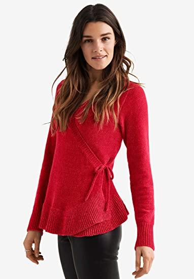 Ellos Womens Plus Size Chenille Wrap Sweater Poppy Red 2628 At