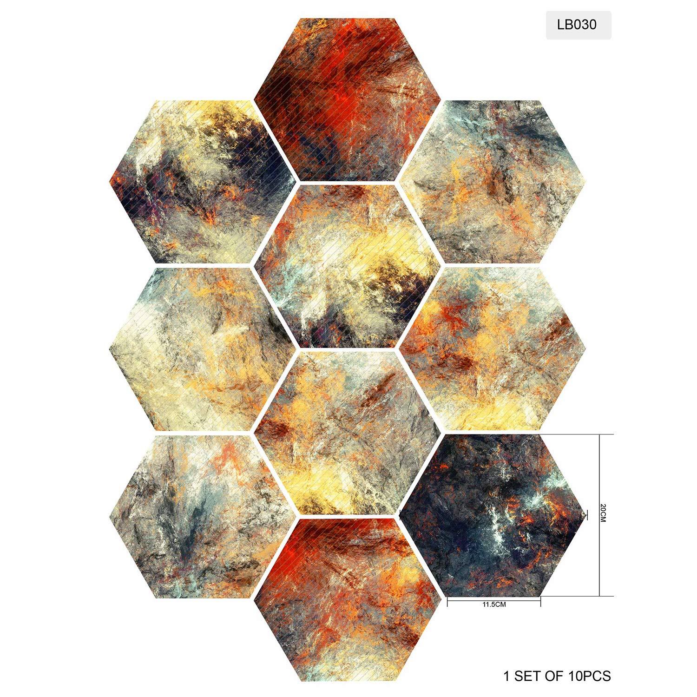 BAIVIT Carrelage Hexagonal Autocollants Anti-D/érapant Autocollants Peintures Murales Auto-Adh/ésives D/écoration De La Maison /Étage 20X23cm10pcs Set