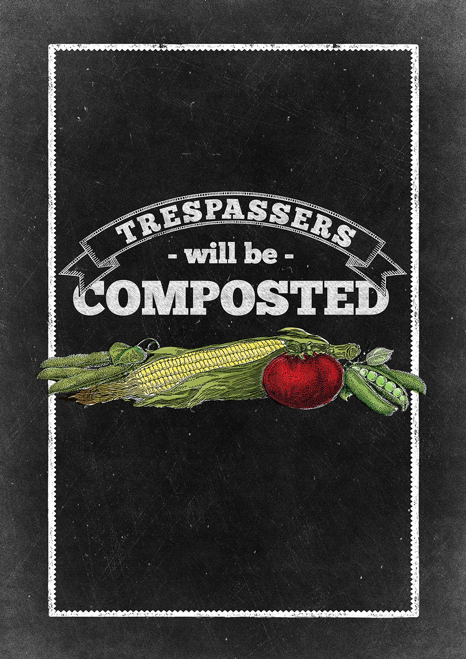 Toland Home Garden Compost Trespassers 28 x 40 Inch Decorative No Trespassing Sign Chalkboard House Flag