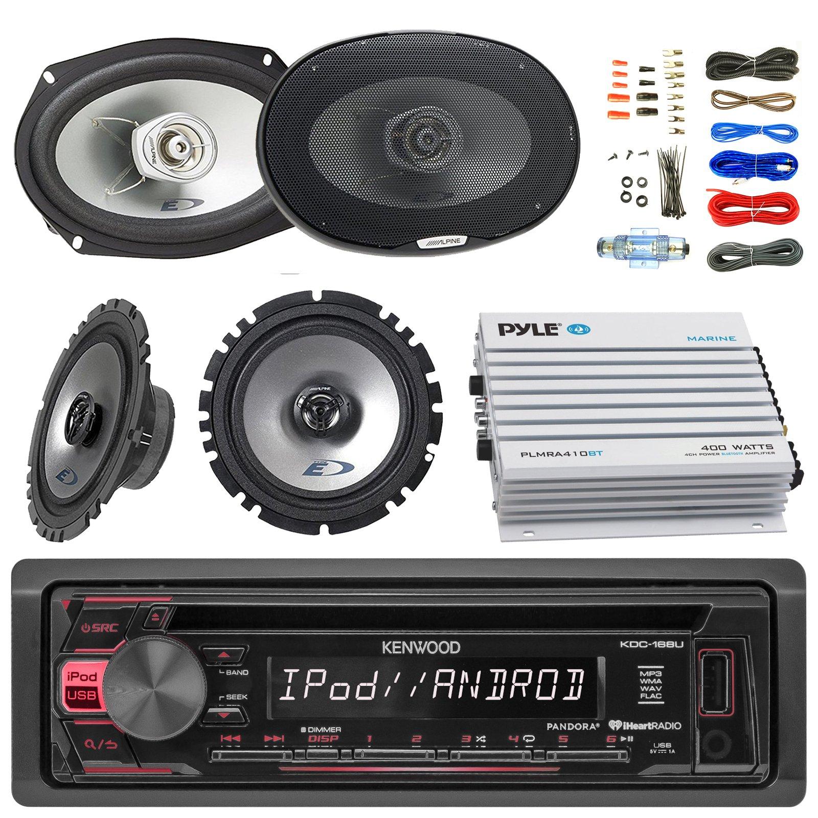 Kenwood KDC168U Car Bluetooth Radio USB AUX CD Player Receiver - Bundle Combo with 2X Alpine 6.5'' 80W 2-Way Coaxial Car Speakers + 2X 6x9 Inch 280W Black Speaker + 4-Channel Amplifier + Amp Kit