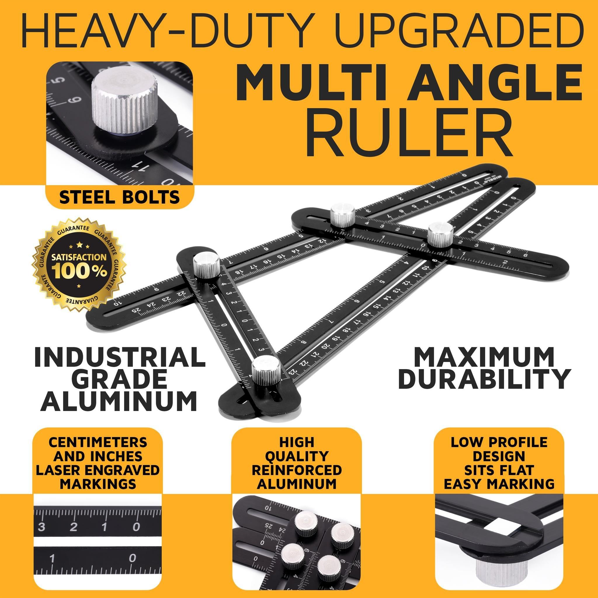 AngleBuddy by Midelo | Aluminum Metal Angleizer Template Tool | Multi Angle Measuring Ruler Angularizer | Ultimate Irregular Shape Layout Copy Anglulizer | BONUS 6-in-1 Multi Tool & Bubble Level by Midelo (Image #2)