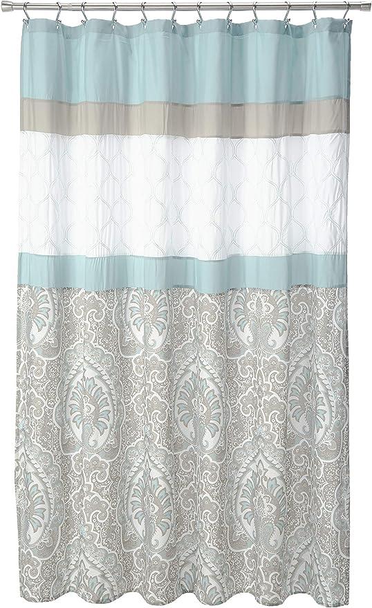 510 Design Printed Elegant Bathroom Shower Curtain Ultra Soft and Modern Look Indigo 72x72