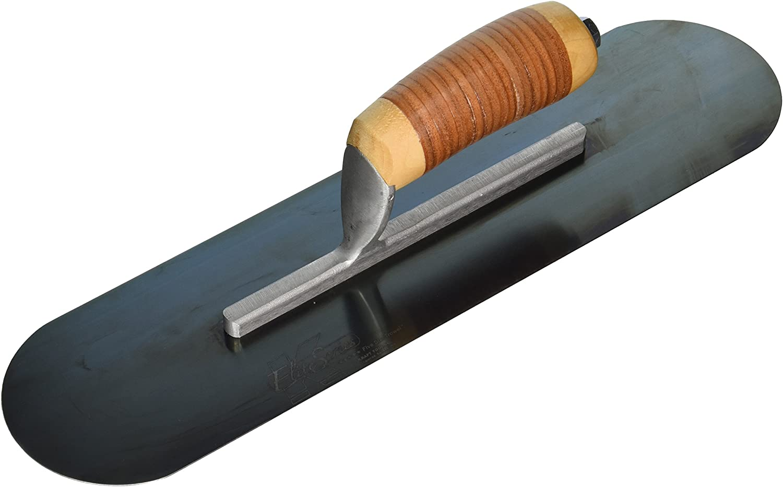 Kraft Tool CFE295B Elite Series Five Star Blue Steel Pool Trowel with Wood Handle 20x5-Inch
