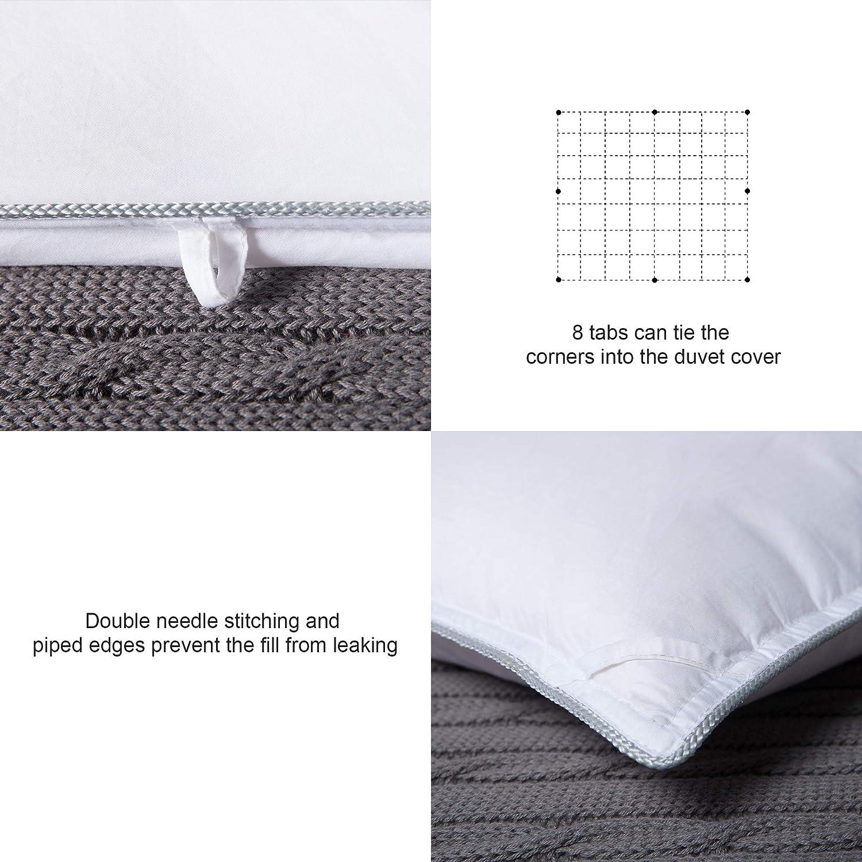 MoSurprise Couette Naturelle en Duvet Couette 4 Saisons Couette Blanche Anti-Acariens 135 x 200 cm Garnissage 100/% Duvet doie Blanc Enveloppe Coton