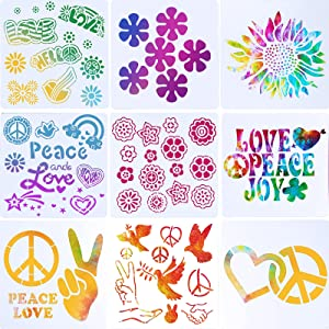 9 Pieces Hippie Theme Party Stencil Retro Flower Template Retro Sun Flower Painting Template Flower Peace Love Sign Stencil for Scrapbooking Drawing DIY Craft Wood Wall Home Decor, 8 x 8 Inch