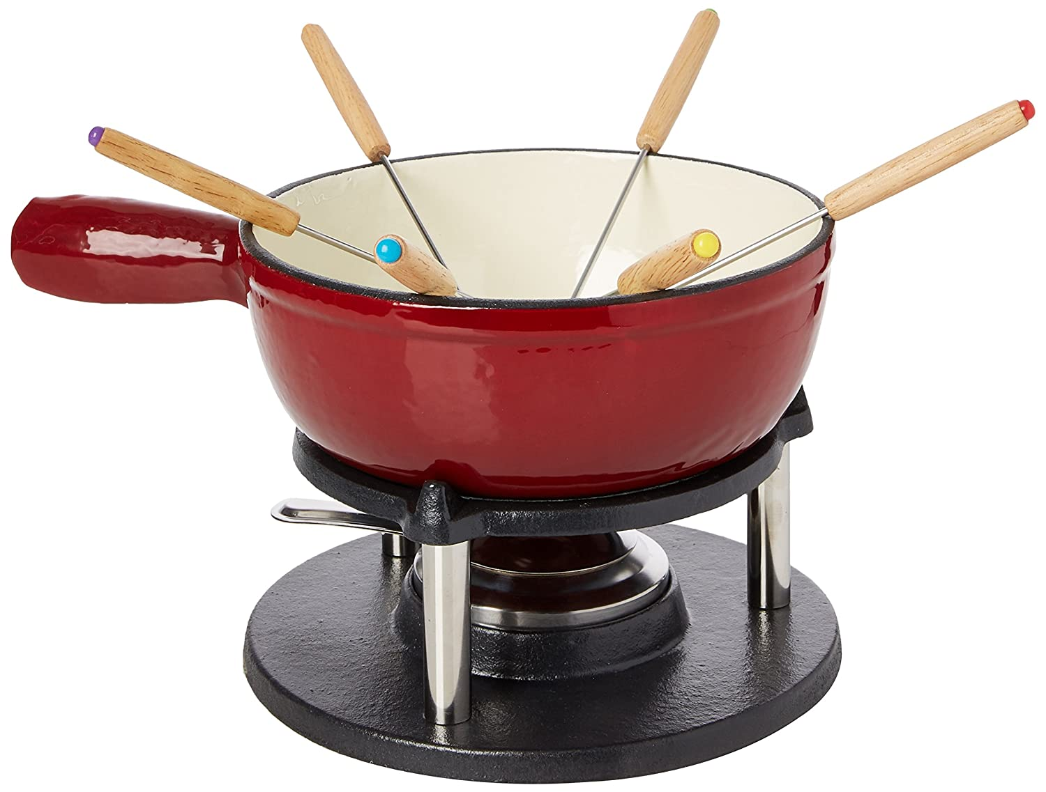 Baumalu - 385052 - Cast iron cheese fondue set 6 persons red color