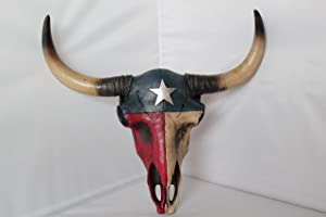 Rainbow. Texas Flag Longhorn Steer Skull Rustic Hand Painted Wall Mounted Life-Like Detail
