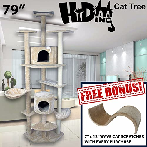 Hiding Cat Tree 79 Tall Special Cat Kitty Tree Scratcher Play House Condo Furniture Toy Bed Post House