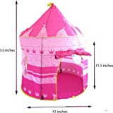 Pink Princess Castle Tent - Portable Play Tent For Girls - Indoor & Outdoor Use - Water Resistant - Foldable & Lightweight - Poles & Carry Bag Included By Sure Luxury