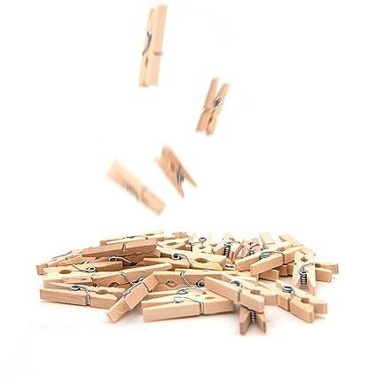 50x Mini Holzklammern Ideal Zum Verzieren Und Basteln Deko Für Geschenke Und Geschenktüten Geeignet Um Kleine Fotos Aufzuhängen Wäscheklammern Für